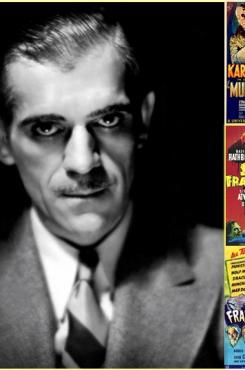 Boris Karloff with posters from his movies