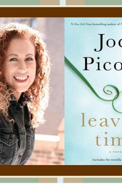 """Jodi Picoult with """"Leaving Time"""" cover"""