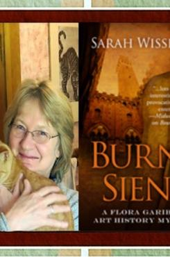 """Sarah Wisseman and the cover for """"Burnt Siena"""""""
